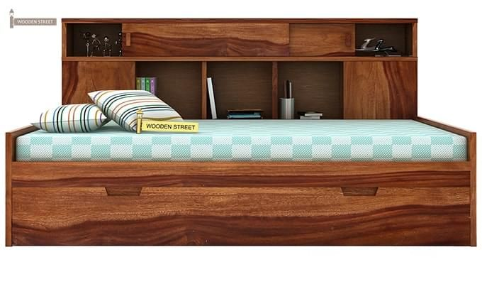 Adeline Sofa Cum Bed (Teak Finish)-3