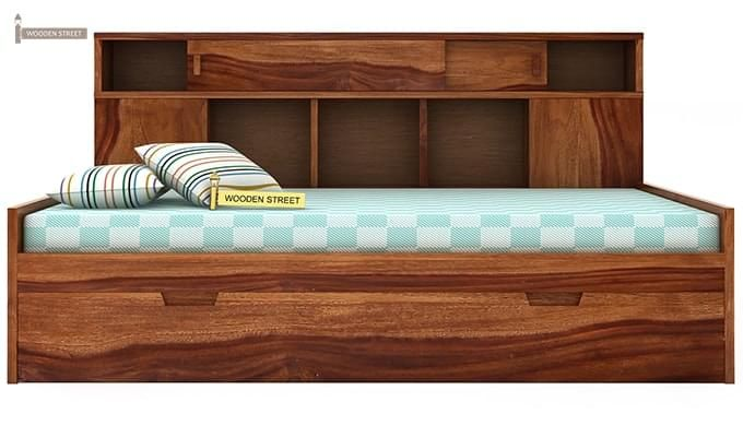 Adeline Sofa Cum Bed (Teak Finish)-4