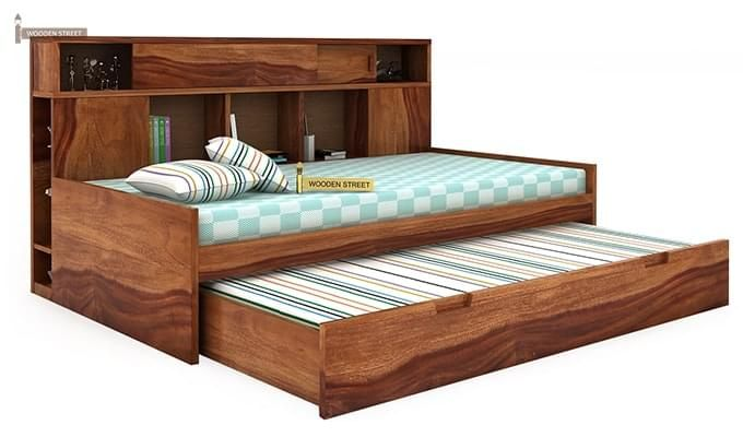 Adeline Sofa Cum Bed (Teak Finish)-5