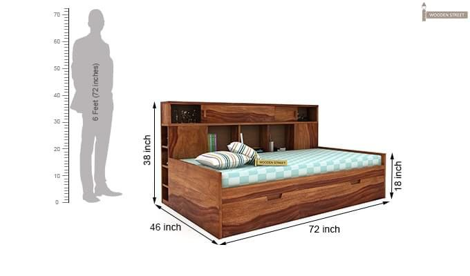 Adeline Sofa Cum Bed (Teak Finish)-9