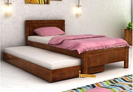 Single Truckle Bed with Teak Finish