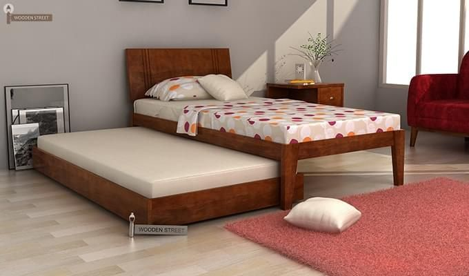 Fyodor Trundle Bed (Teak Finish)-3