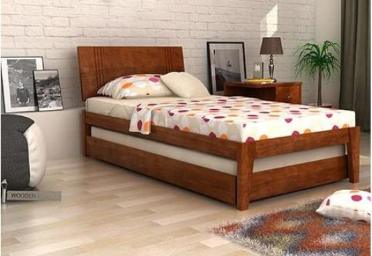 Fyodor single bed with large headrest and roll out trundle bed