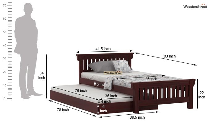 Kendra Trundle Bed (Mahogany Finish)-7