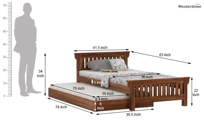 Kendra Trundle Bed (Teak Finish)-7