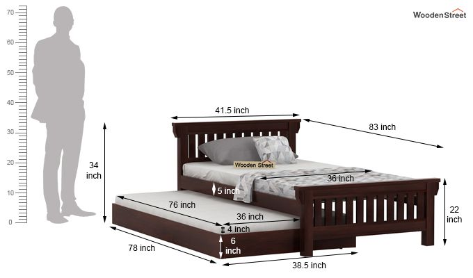 Kendra Trundle Bed (Walnut Finish)-8