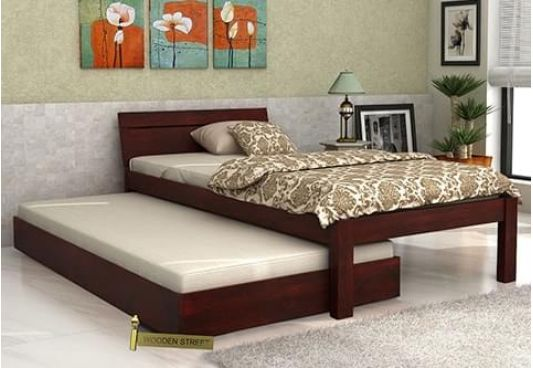 Morenz single bed with small headboard and trundle bed