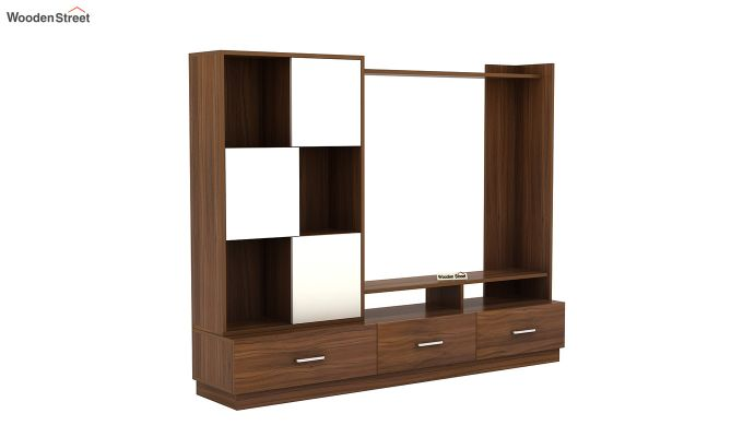 Checkers TV Unit with Frosty White Drawer (Exotic Teak Finish)-2