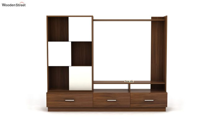 Checkers TV Unit with Frosty White Drawer (Exotic Teak Finish)-3