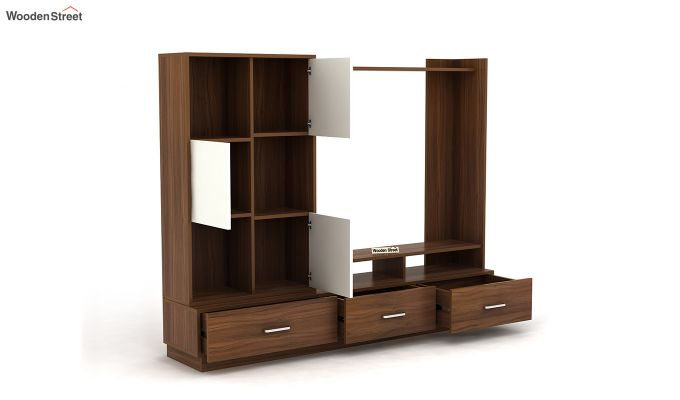 Checkers TV Unit with Frosty White Drawer (Exotic Teak Finish)-4