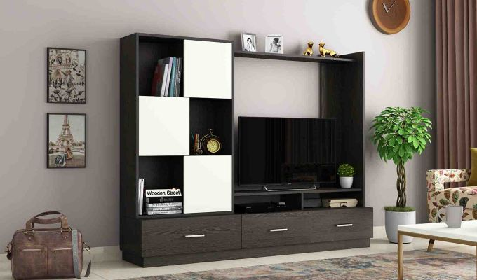 Checkers TV Unit with Frosty White Drawer (Flowery Wenge Finish)-1