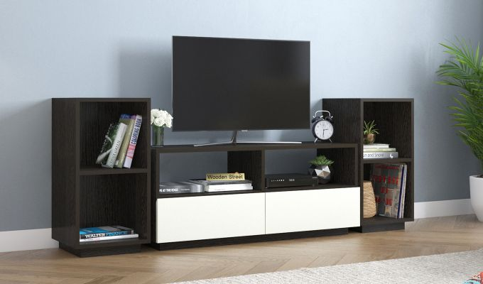 Tulisa Tv Unit with Frosty White Drawer (Flowery Wenge Finish)-1