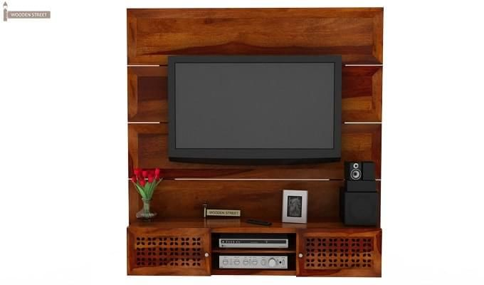 Krackel Wall Mount Tv Unit (Honey Finish)-2