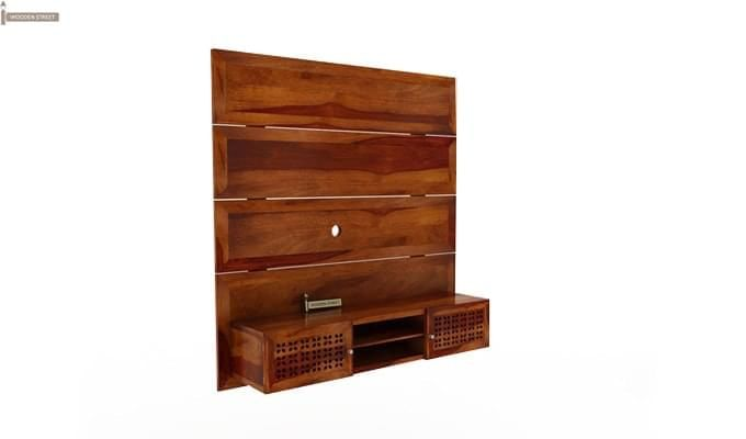 Krackel Wall Mount Tv Unit (Honey Finish)-4