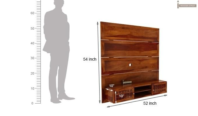 Krackel Wall Mount Tv Unit (Honey Finish)-7
