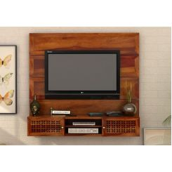 Krackel Wall Mount Tv Unit (Honey Finish)