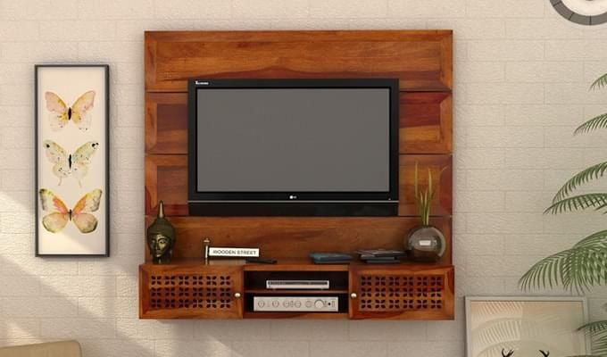 Krackel Wall Mount Tv Unit (Honey Finish)-1