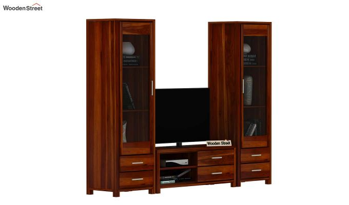 Barun Tv Unit With Side Towers (Honey Finish)-2