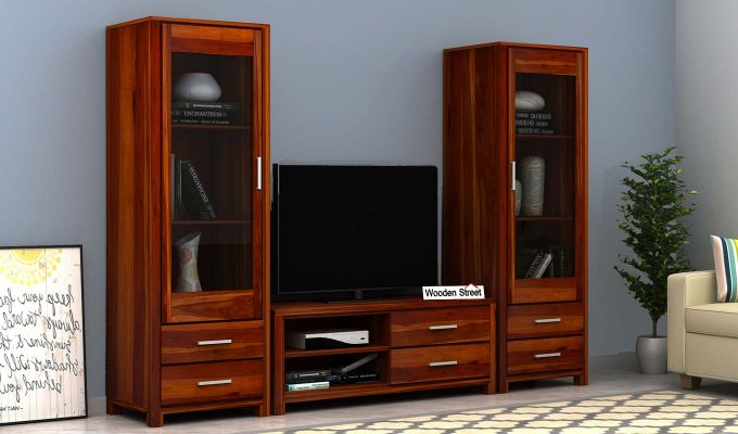 Barun Tv Unit With Side Towers (Honey Finish)-1