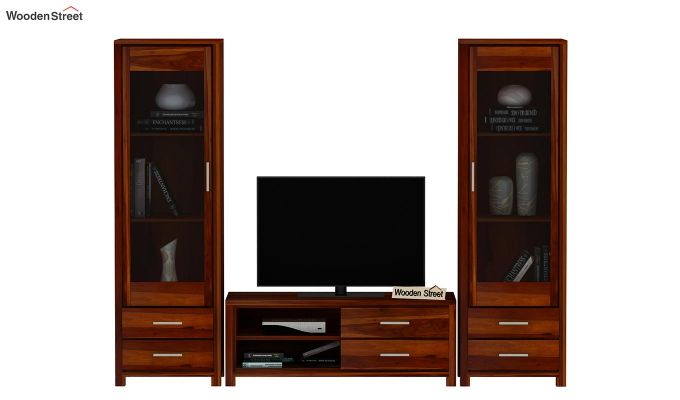 Barun Tv Unit With Side Towers (Honey Finish)-3