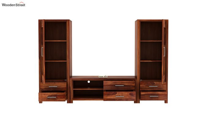 Barun Tv Unit With Side Towers (Honey Finish)-5