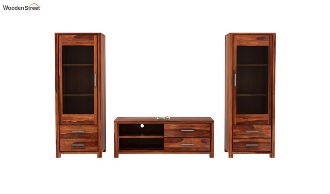 Barun Tv Unit With Side Towers (Honey Finish)-6
