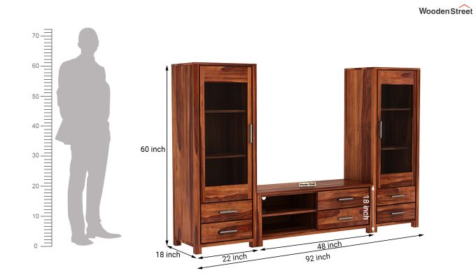 Barun Tv Unit With Side Towers (Honey Finish)-11