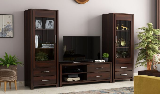 Barun Tv Unit With Side Towers (Walnut Finish)-1