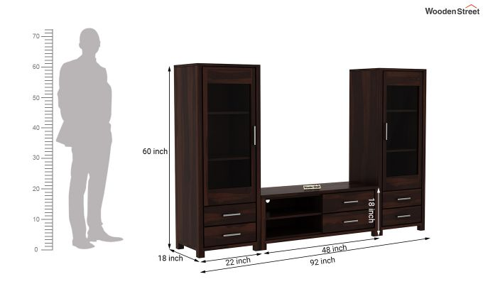Barun Tv Unit With Side Towers (Walnut Finish)-11