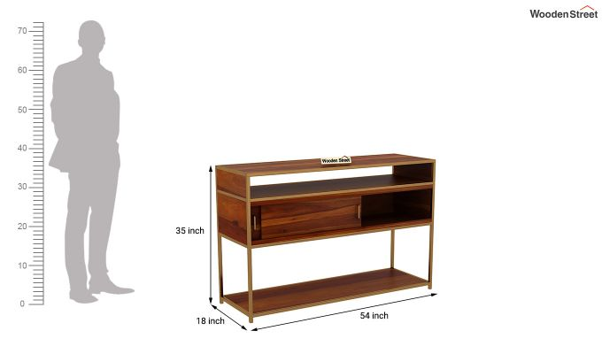Carto Brass Tv Unit (Honey Finish)-11