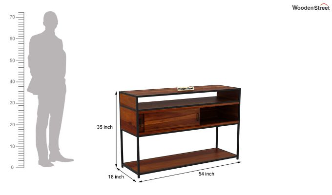 Carto Iron Tv Unit (Honey Finish)-12