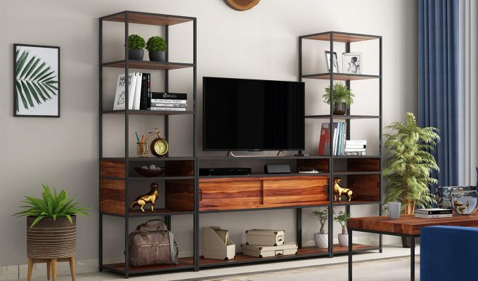 Carto Iron Tv Unit (Teak Finish)-1