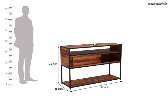Carto Iron Tv Unit (Teak Finish)-12