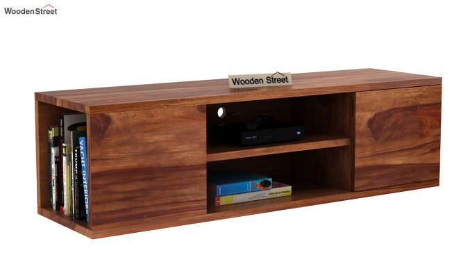 Cubis Wall Mount TV Unit (Teak Finish)-3