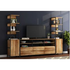 Delvin Loft Tv Unit With Side Towers (Natural Finish)