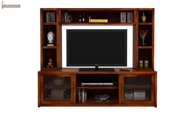 Estell Tv Unit With Shelves (Honey Finish)-1