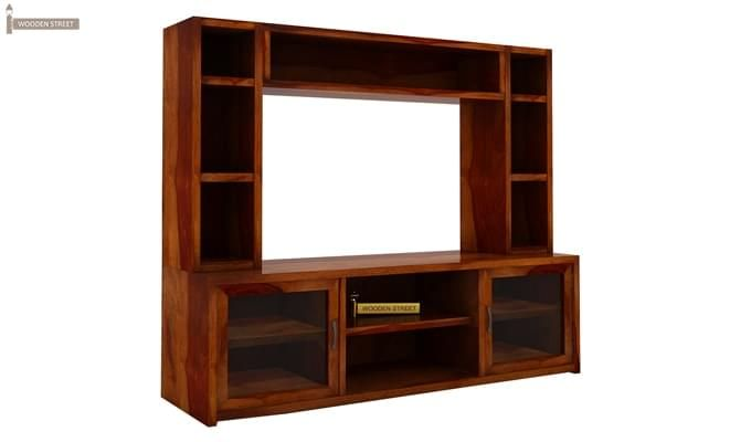 Estell Tv Unit With Shelves (Honey Finish)-2