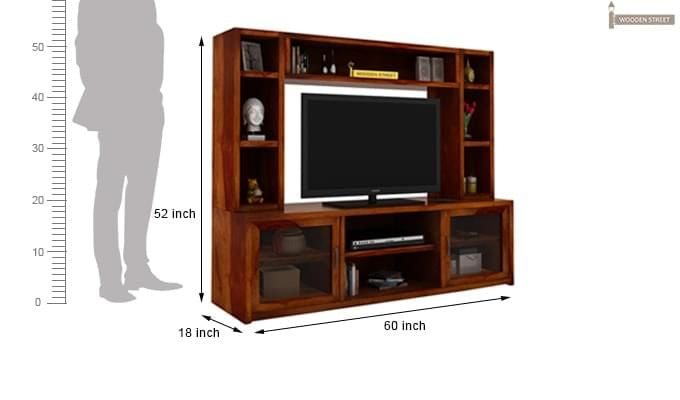 Estell Tv Unit With Shelves (Honey Finish)-4