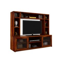 Estell Tv Unit With Shelves (Honey Finish)