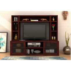 Estell Tv Unit With Shelves (Mahogany Finish)