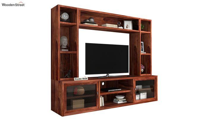 Estell Tv Unit With Shelves (Honey Finish)-2