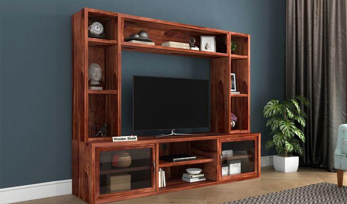 Estell Tv Unit With Shelves (Honey Finish)-1