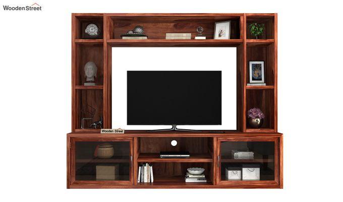 Estell Tv Unit With Shelves (Honey Finish)-3