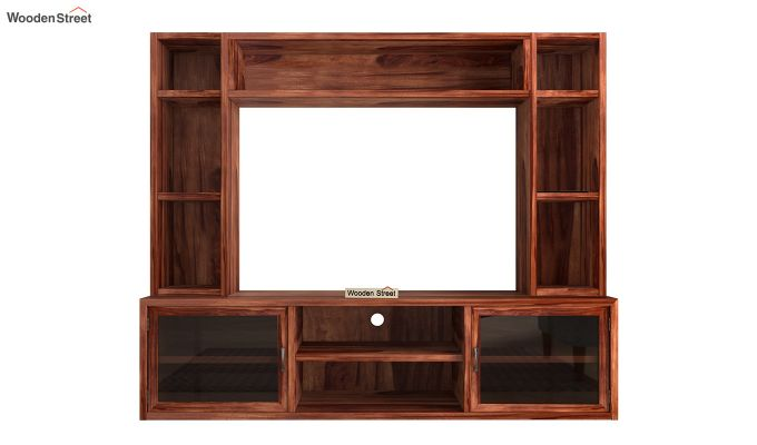 Estell Tv Unit With Shelves (Honey Finish)-4