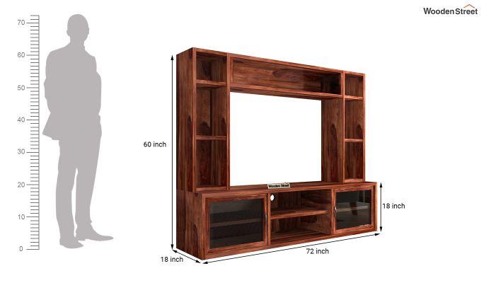 Estell Tv Unit With Shelves (Honey Finish)-7