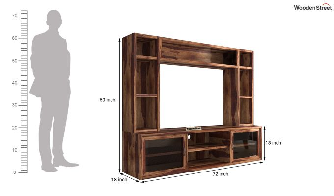 Estell Tv Unit With Shelves (Teak Finish)-7