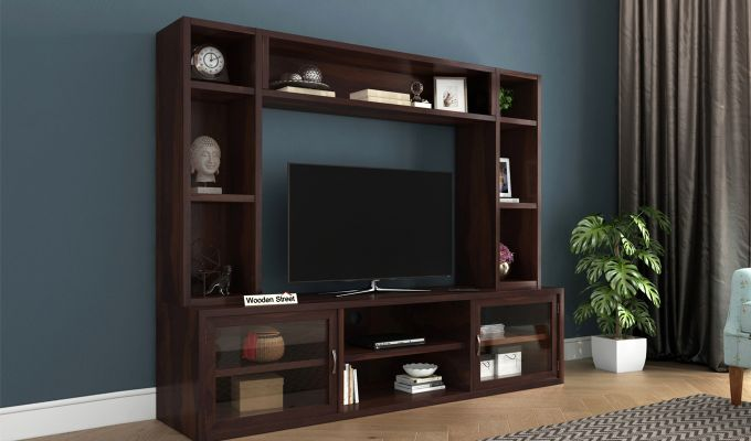 Estell Tv Unit With Shelves (Walnut Finish)-1