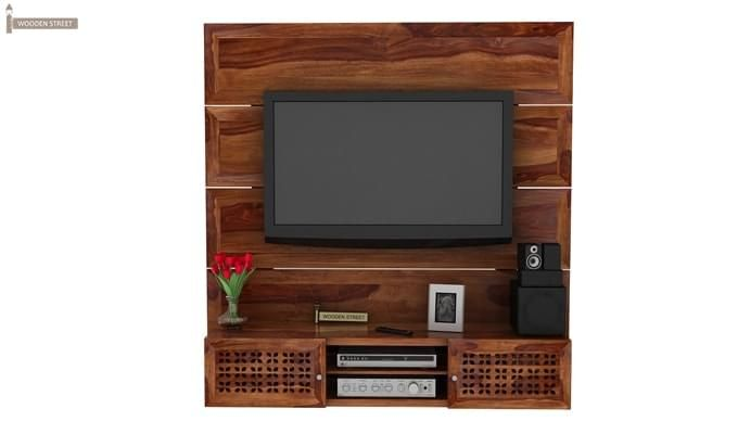 Krackel Wall Mount Tv Unit (Teak Finish)-1