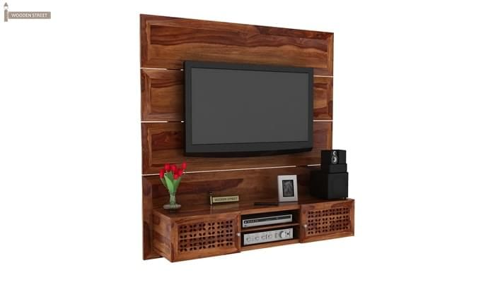 Krackel Wall Mount Tv Unit (Teak Finish)-2