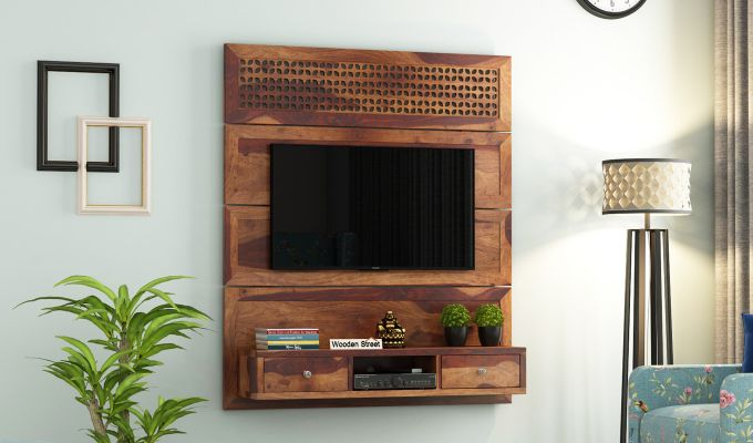 Kristen Wall Mount Tv Unit (Teak Finish)-1